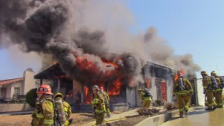 (Pre-Arrival) LAFD Well Involved House Fire: Station 66 (South LA)