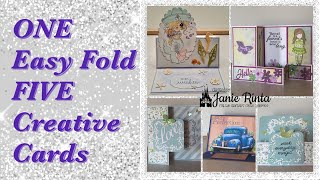 ONE Easy Card Fold For FIVE Creative Cards - Easy Tutorial