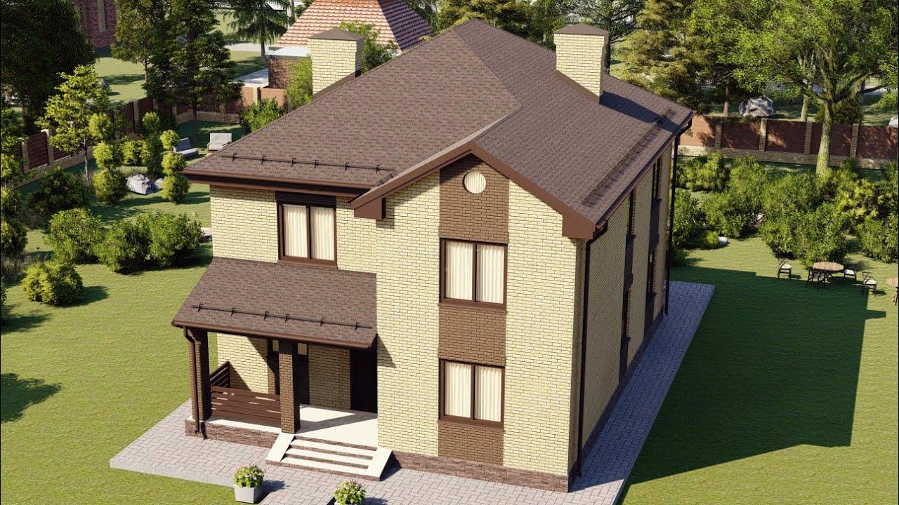 Проект двухэтажного загородного дома из газоблока с кирпичом