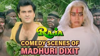 Best comedy scenes of Madhuri Dixit from Movie - Raja | Sanjay Kapoor | Superhit Comedy Movie