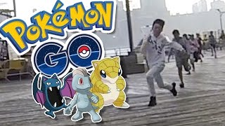 CAUGHT IN THE POURING RAIN!!   Pokémon GO in NYC