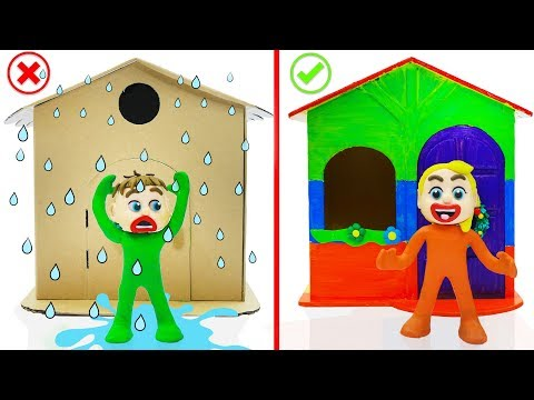 SUPERHERO BABY BUILDS PLAYHOUSE 💖 Play Doh Cartoons For Kids