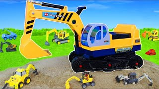 Excavator Ride on, Truck, Crane, Backhoe, Tractor & Construction Toy Vehicles Unboxing for Kids