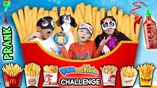 French Fry Challenge w/ SRIRACHA HOT SAUCE PRANK! (FUNnel Vision Blind-Folded Taste Test Game)