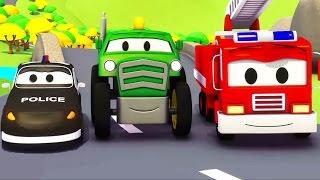 Mobil patroli: Truk Pemadam Kebakaran dan Mobil Polisi dan Traktor di Kota Mobil | Kartun Mobil