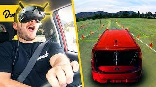 VR Driving in a REAL CAR - MatPat vs Donut
