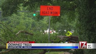 Severe storms down tree across road in Raleigh