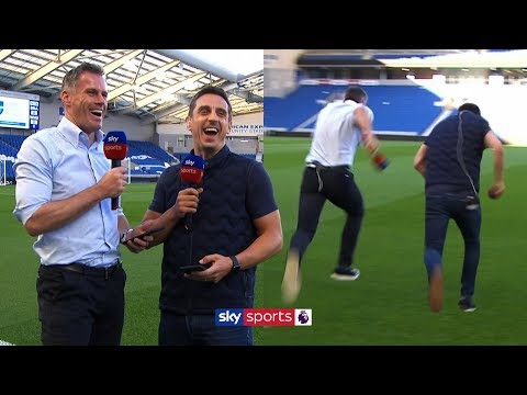 Two 40+ year old football pundits spontaneously race each other and giggle along the way