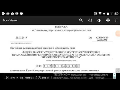 Выписка из ЕГРЮЛ эРэФии на больницу города Лермонтов.