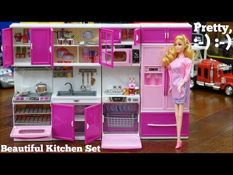 Pink Kitchen Play Set for Little Girls. A Complete Kitchen Set with Barbie Doll. Toy Review Channel