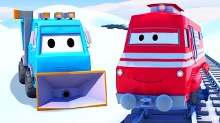 Поезд Трой и Снегоочиститель в Автомобильный Город  Мультфильм для детей