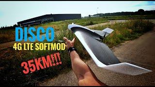 FOURTH flight: Parrot DISCO Unlimited Range! 4G LTE softmod. 35km fpv flight ????