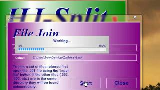 How to join .001 .002 (etc) Files with hjsplit HD