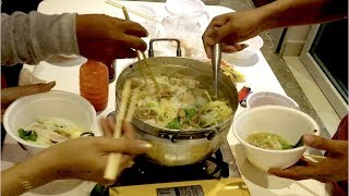 Eating Beef Suki Soup Together in Phnom Penh City   Asian Dinner Cambodian Style