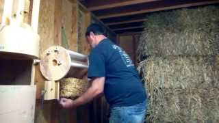 Part 3 shrink wrapper for Mini hay, straw, and alfalfa bales.