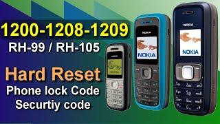 How to factory reset Nokia 1200 / 1208 / 1209 Unlock Security Code, input Password, Phone Lock Code
