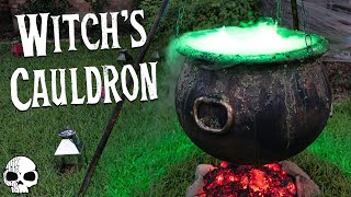 DIY Halloween Props - Bubbling Witchs Cauldron With Glowing Coals