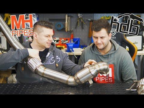 Abgasanlagen Auspuff WIG schweißen mit MH Pipes - Nissan GTR Downpipe Anlauffarben