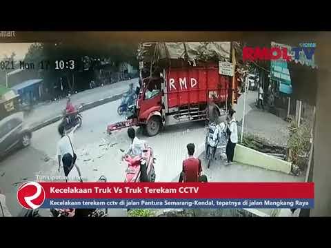 Detik detik Kecelakaan Maut Truk Vs Truk Terekam CCTV