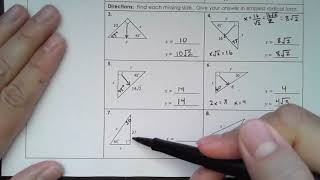 Math III - Concept 50: Pythagorean Theorem, Special Right Triangles And Six Trig Functions
