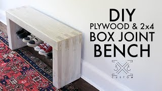 DIY Plywood and 2x4 BOX-JOINT Bench - Without Cutting Joinery