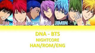 BTS DNA (Nightcore W Lyrics)