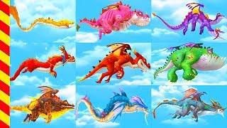 Сражения драконов - мультик игра. Все виды драконов в одном мультике. Дракон мультфильм.