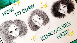 How To Draw KINKY/CURLY Hair Textures 4a,4b,4c ♡ | Christina Lorre