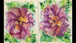 (315) EMBELLISHING PURPLE FLOWER DIPS With Caran D'Ache Water Soluable Crayons With Sandra Let