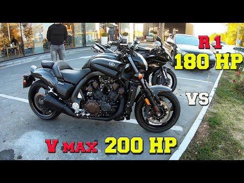 Yamaha V-Max обзор. Гонка Yamaha V-Max vs Yamaha R1. Fast Cars Dnepr