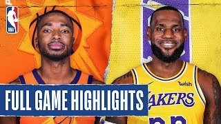 SUNS at LAKERS   FULL GAME HIGHLIGHTS   February 10, 2020  The Los Angeles Lakers defeated the Phoenix Suns, 125-100. Anthony Davis recorded 25 PTS, 10 REB and 5 AST for the Lakers, while Rajon Rondo added a season-high 23 PTS in the victory. Mikal Bridges tallied 18 PTS and 6 REB for the Suns.  Catch Tuesday's action on TNT: L.A. Clippers at Philadelphia 76ers, 7:00 pm/et & Boston Celtics at Houston Rockets, 9:30 pm/et  Subscribe to the NBA: https://on.nba.com/2JX5gSN   Full Game Highlights Playlist: https://on.nba.com/2rjGMge  For news, stories, highlights and more, go to our official website at https://nba_webonly.app.link/nbasite  Get NBA LEAGUE PASS: https://nba.app.link/nbaleaguepass5