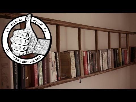 Bücherregal selber bauen, selber machen Leiterregal selber bauen DIY Anleitung