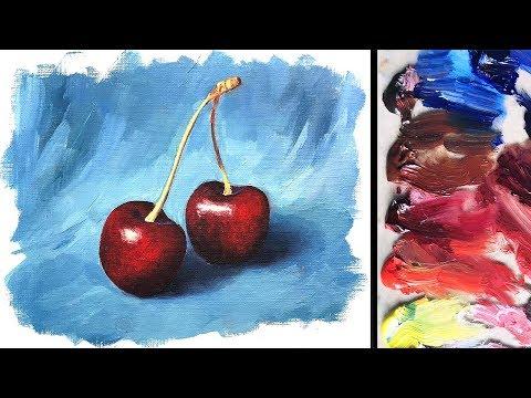 Oil Painting Basics Tutorial For Beginners | Realistic Cherries