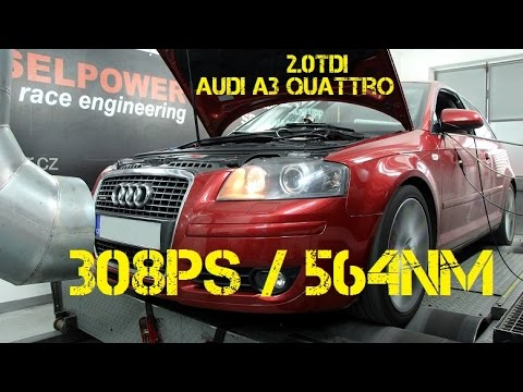 Audi A3 Quattro 2.0TDI 140PS to 308PS @ 564Nm DIESELPOWER dyno tuning: www.dp-race.com