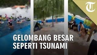 Viral Video Gelombang Besar seperti Tsunami Gulung Pengunjung Kolam Renang