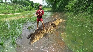 Terrifying! Smart Boy Catches Crocodile While Go Fishing - How To Hunt & Catch Crocodile in Cambodia
