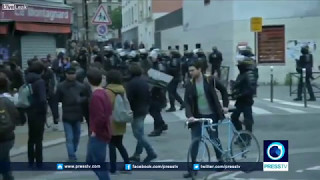 French Police Clash With Anti Capitalist Protesters In Paris