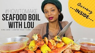 HOW TO MAKE A SEAFOOD BOIL (KING CRAB | LOBSTER TAILS & MORE) FEATURING KUMA CHEF'S KNIFE