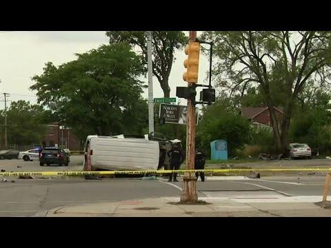 Traffic stop leads to violent 2-vehicle crash on Detroit's west side
