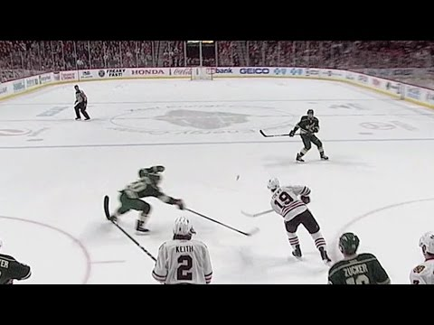 Toews caps hat trick by scoring empty net goal from own end