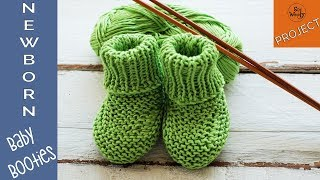Newborn Baby Booties knitting pattern (straight needles) - So Woolly