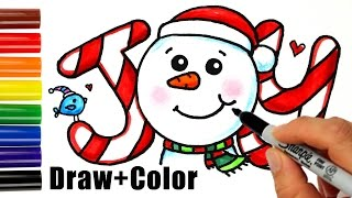 How to Draw + Color Snowman Joy in Bubbble Letters step by step