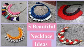 5 Handmade Necklace Ideas | How To Make Silk Thread Necklace At Home | Creation&you