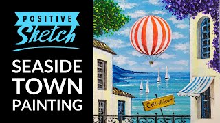 Acrylic Painting, Easy, Seaside Town, Painting Tutorial For Beginners
