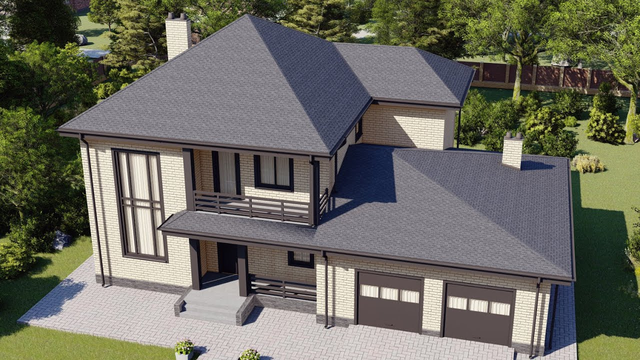 Проект дома 256 м2 с пятью спальнями и гаражом на 2 авто