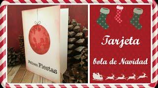 Cómo hacer una tarjeta de Navidad estampada. Manualidades para Naviadad. Decimo de Navidad 2015 ep 5