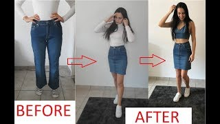 DIY DENIM SKIRT TUTORIAL -  JEANS TO SKIRT REFASHION