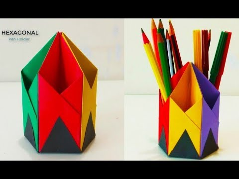 How to Make Pen Stand || Origami Pen Holder || Paper Pencil Holder ... | 360x480