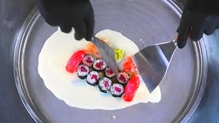 Sushi Ice Cream Rolls   how to make Thai fried Ice Cream with raw Fish - rolled Ice Cream ASMR Food