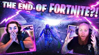 the end of fortnite?! *live event reaction* ft. drlupo cloazky & couragejd